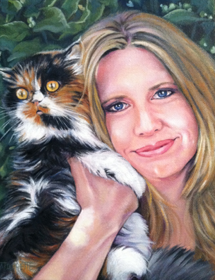 Commissioned cat portrait with owner by Lisa LaTourette